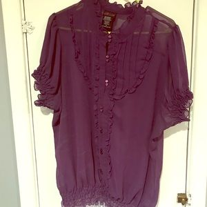 Beautiful sheer purple ruffle top